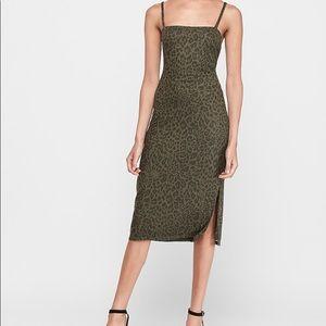 Leopard Print Square Neck Ribbed midi dress